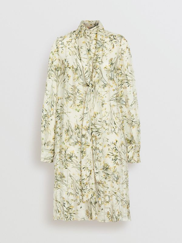 Floral Print Organza Tie-neck Shirt Dress in Lawn Green - Women | Burberry - cell image 3