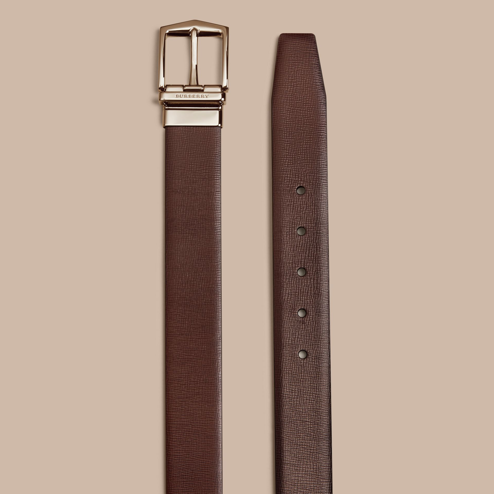 Wine/black Reversible London Leather Belt - gallery image 3