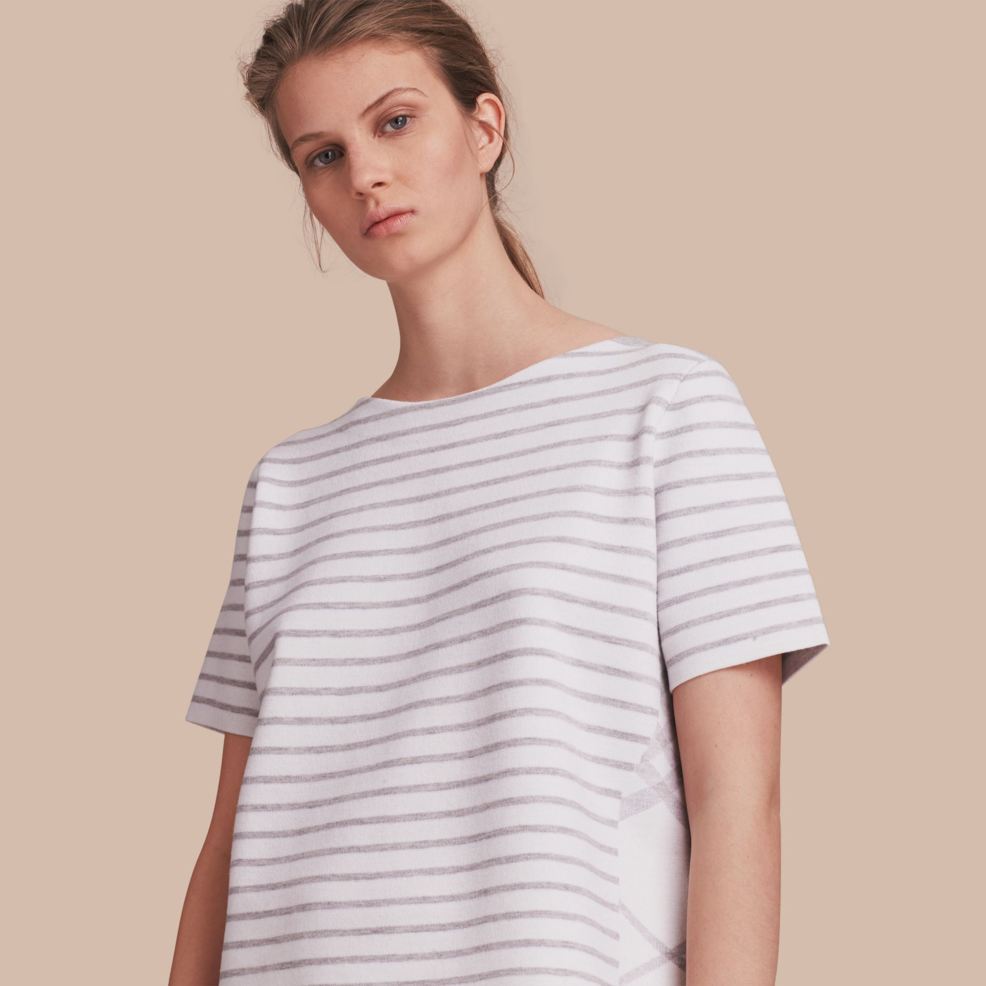 Check and Stripe Wool Blend T-shirt in Light Grey Melange - Women | Burberry - gallery image 1