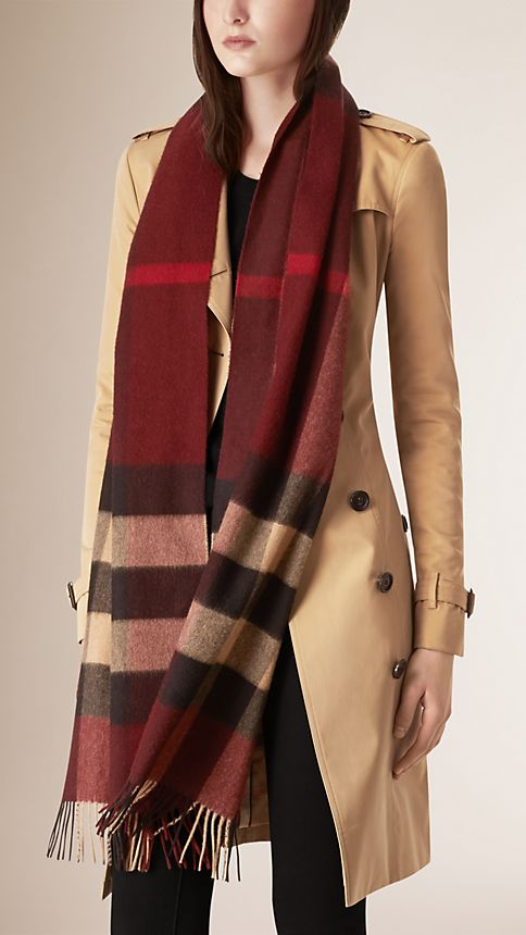 Claret check Giant Exploded Check Cashmere Scarf Claret - Image 2