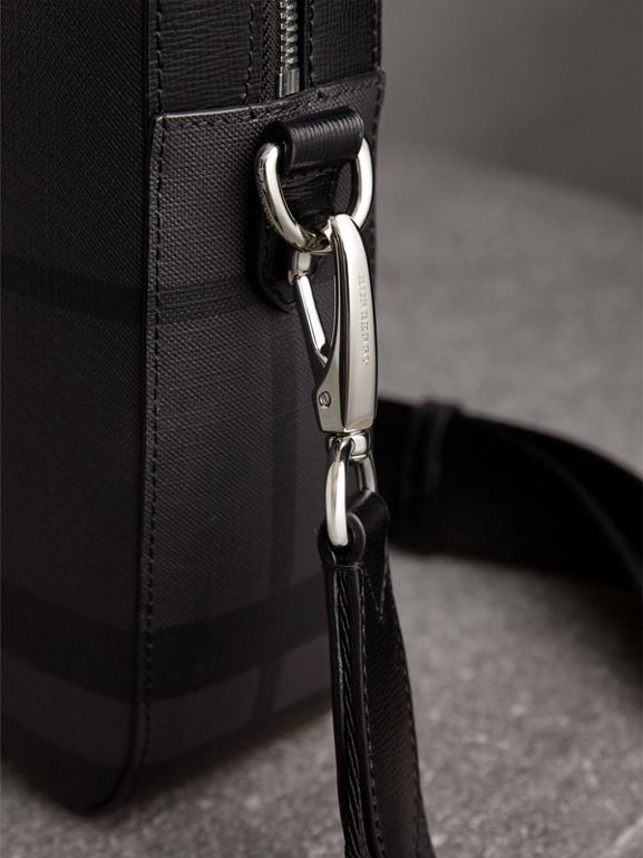 Medium Leather Trim London Check Briefcase in Charcoal/black - Men | Burberry United Kingdom - cell image 1
