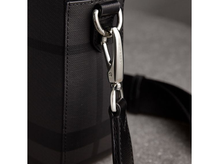 Medium Leather Trim London Check Briefcase in Charcoal/black - Men | Burberry Singapore - cell image 1