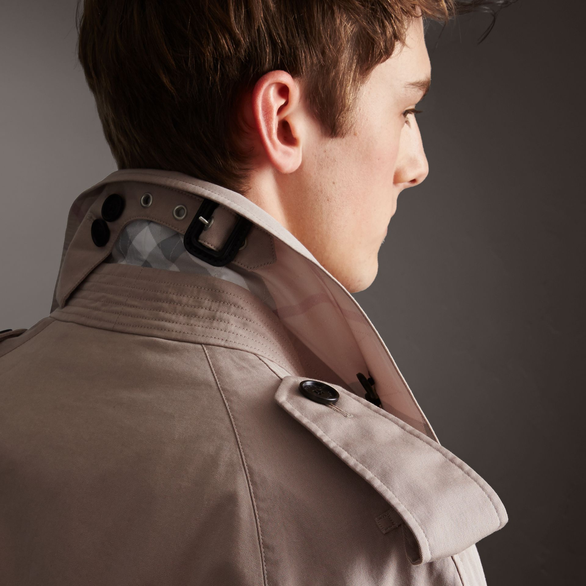 Unisex Tropical Gabardine Trench Jacket in Light Taupe - gallery image 5