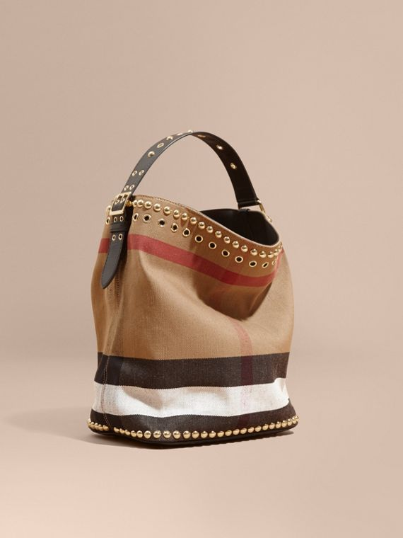 Sac The Ashby medium en toile Canvas check et cuir avec rivets