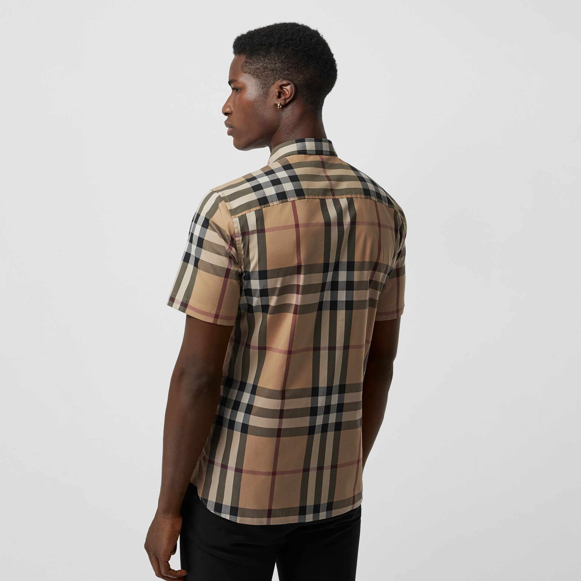 Short-sleeved Check Stretch Cotton Shirt in Camel - Men | Burberry Australia - gallery image 2