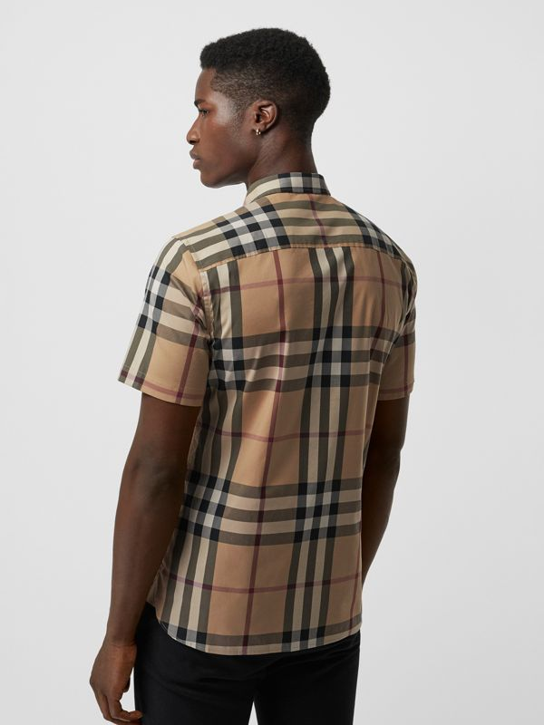 Short-sleeved Check Stretch Cotton Shirt in Camel - Men | Burberry United Kingdom - cell image 2