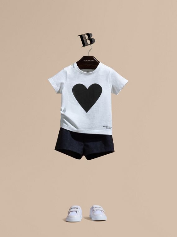 Heart Print Cotton T-shirt Black
