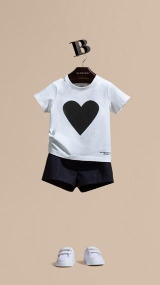T-shirt en coton avec imprimé à cœurs