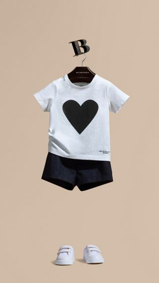 Heart Print Cotton T-shirt