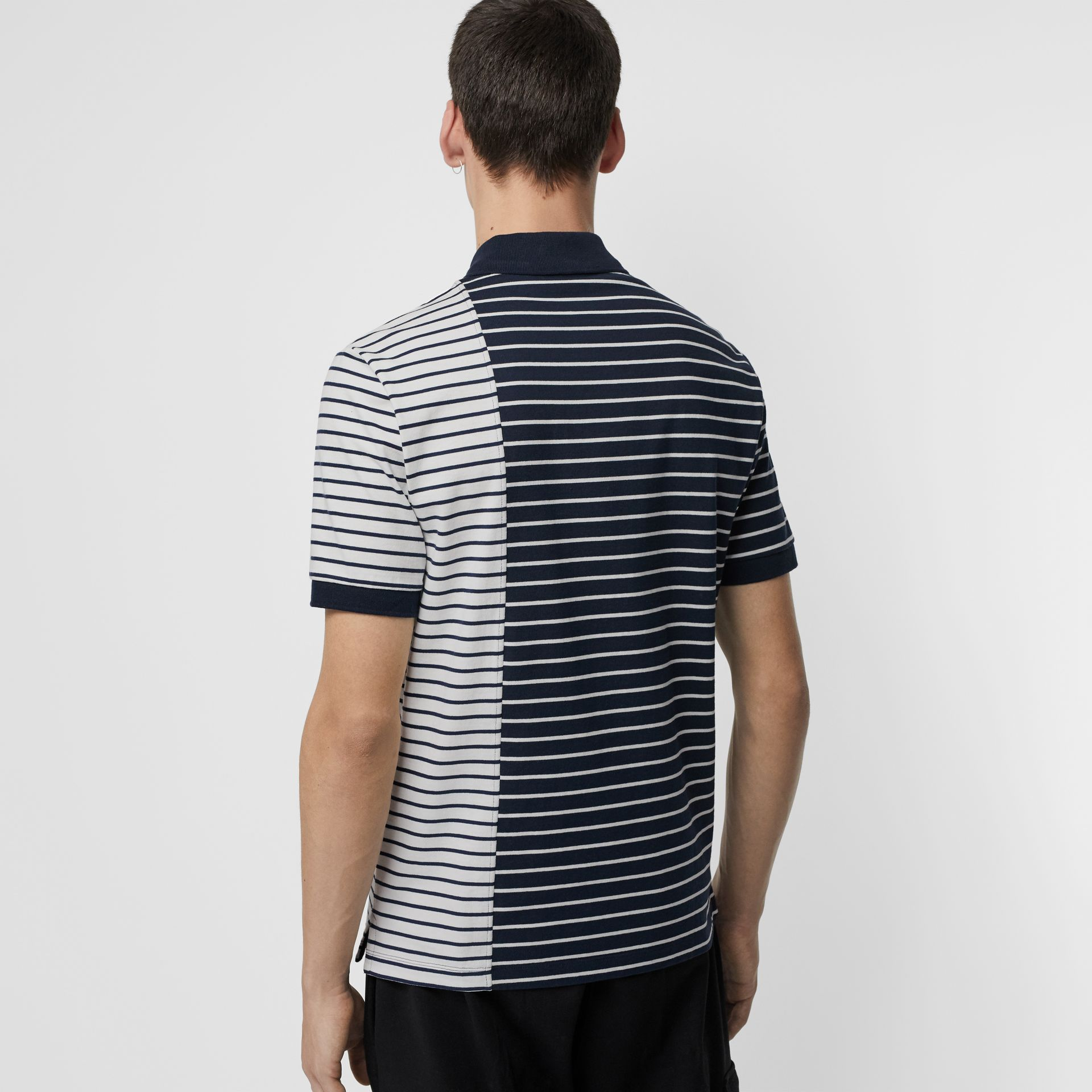 Contrast Stripe Cotton Polo Shirt in Bright Navy - Men | Burberry United Kingdom - gallery image 2