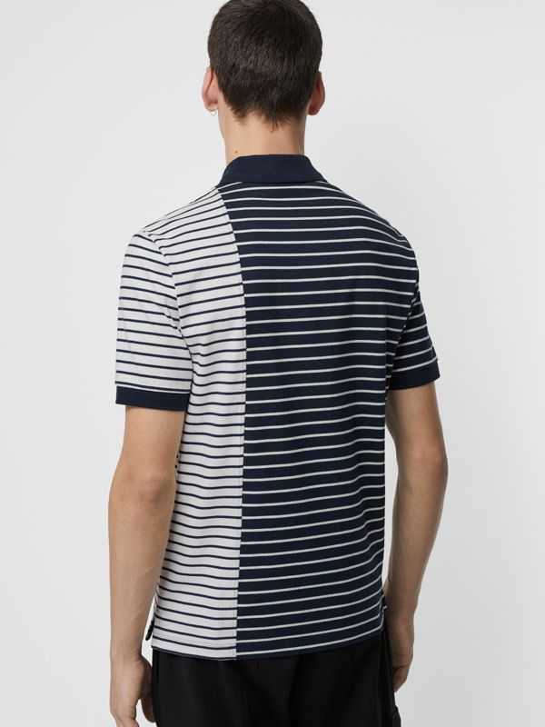 Contrast Stripe Cotton Polo Shirt in Bright Navy - Men | Burberry United Kingdom - cell image 2