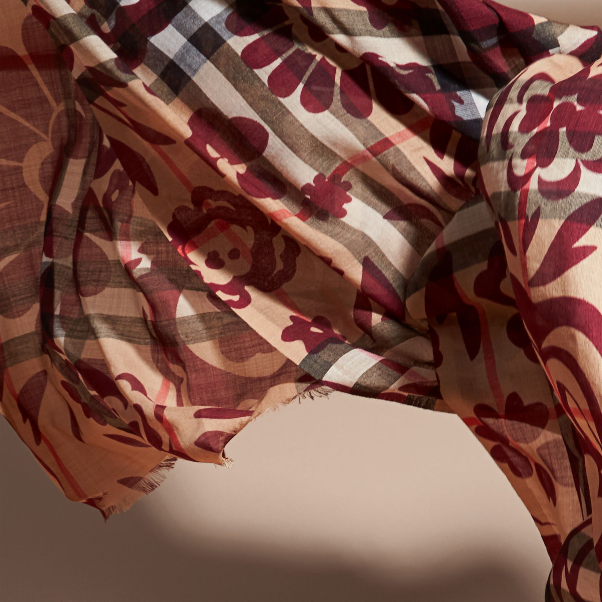 Crimson Floral Print Check Wool Silk Scarf - gallery image 4