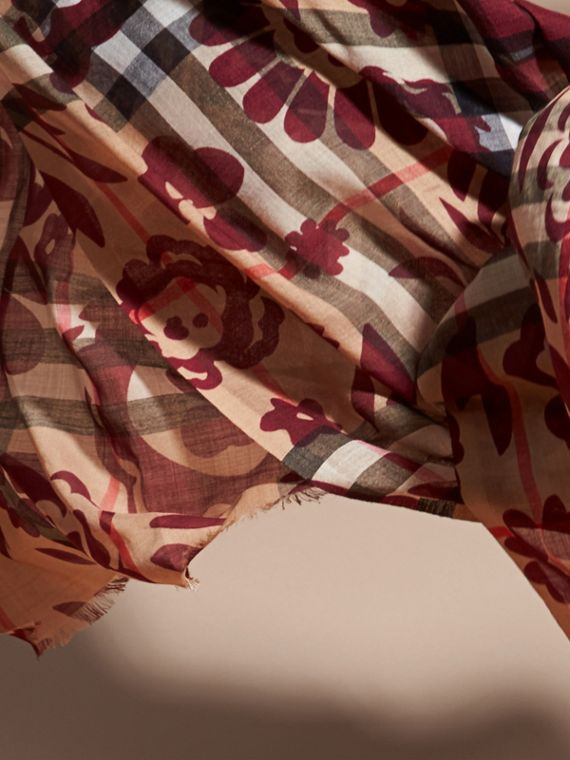Crimson Floral Print Check Wool Silk Scarf - cell image 3