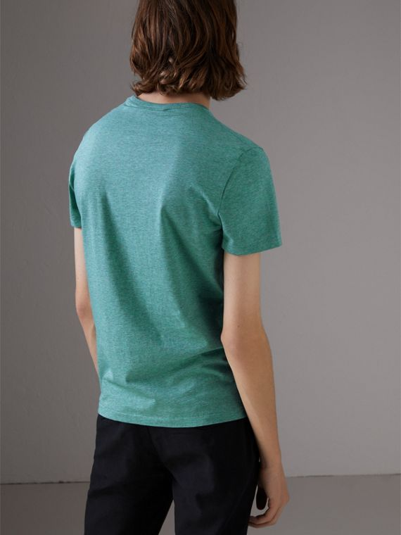 Cotton Jersey T-shirt in Storm Green Melange - Men | Burberry - cell image 2