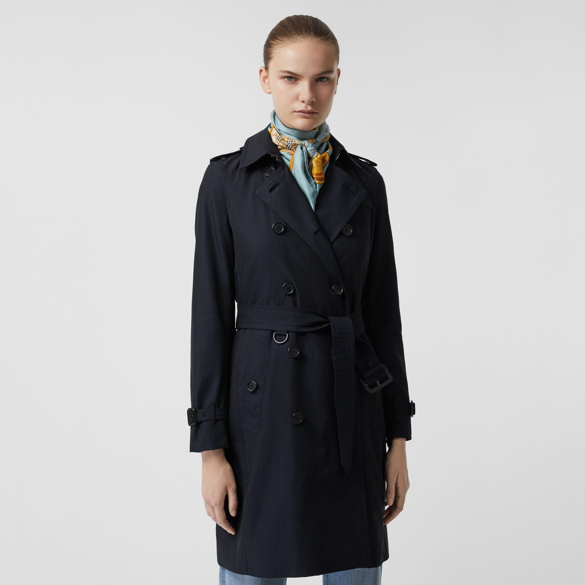 Kensington Fit Cotton Gabardine Trench Coat in Blue Carbon - Women | Burberry - gallery image 6