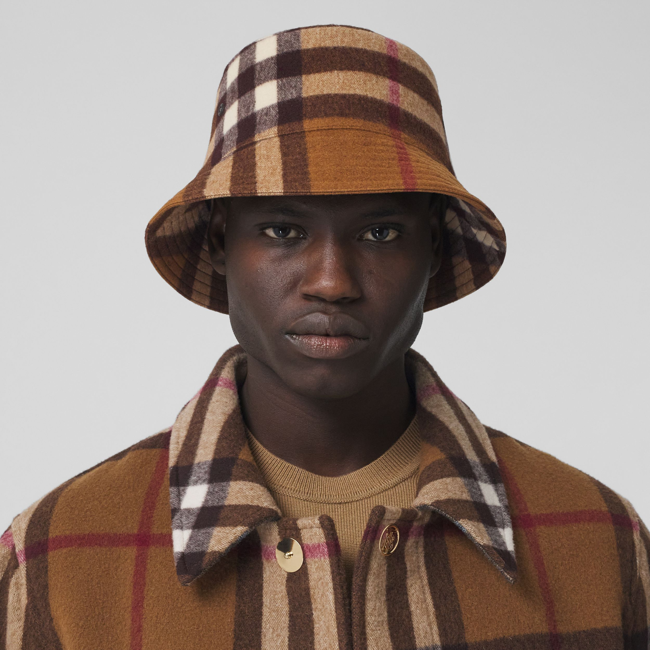 Check Wool Bucket Hat in Birch Brown | Burberry United States - 4