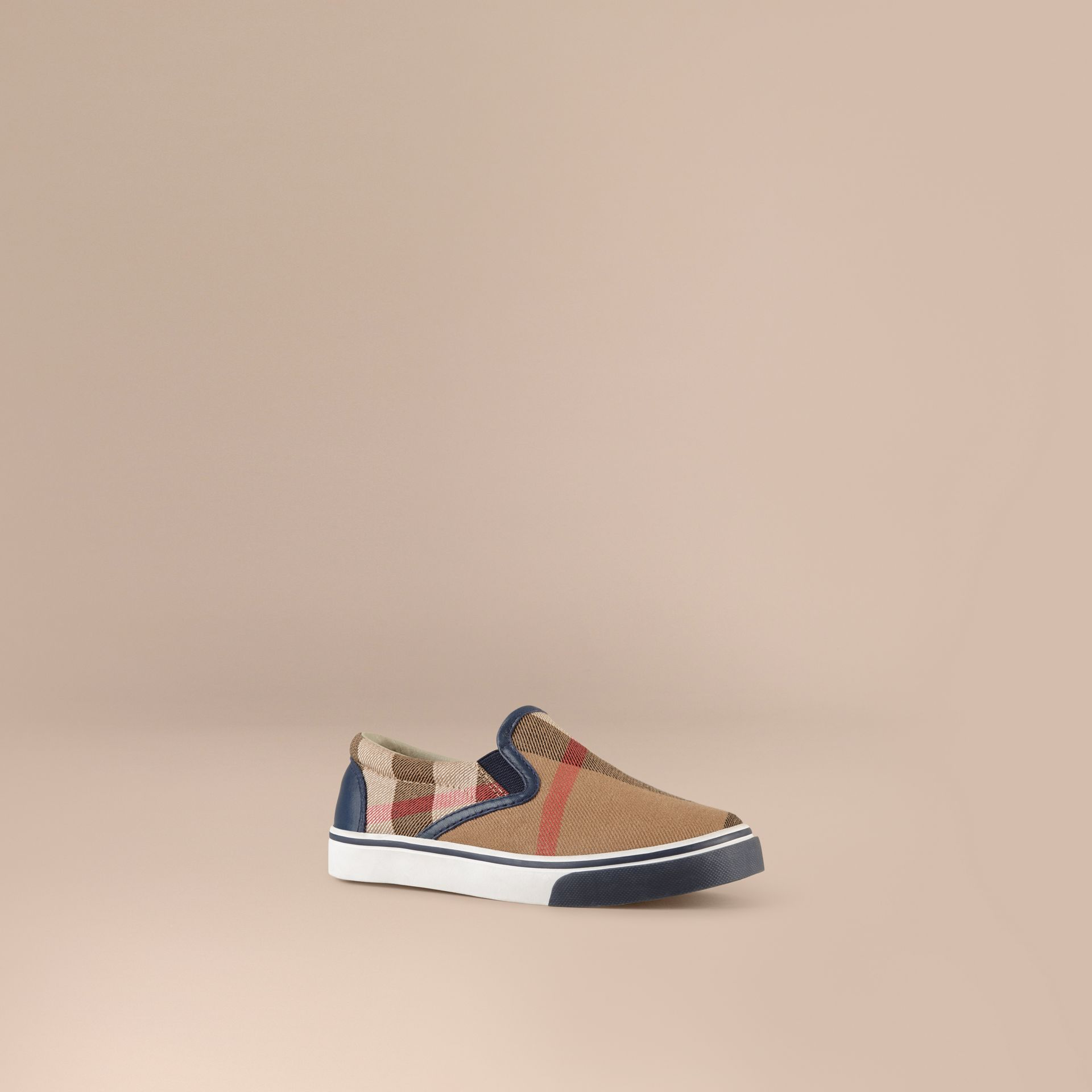 Navy House Check Cotton Slip-On Trainers Navy - gallery image 1