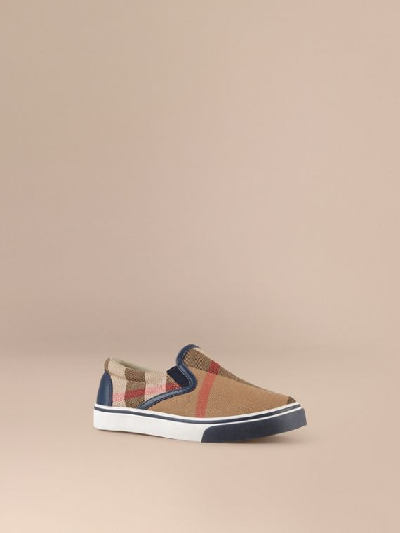 House Check Cotton Slip-On Trainers in Navy