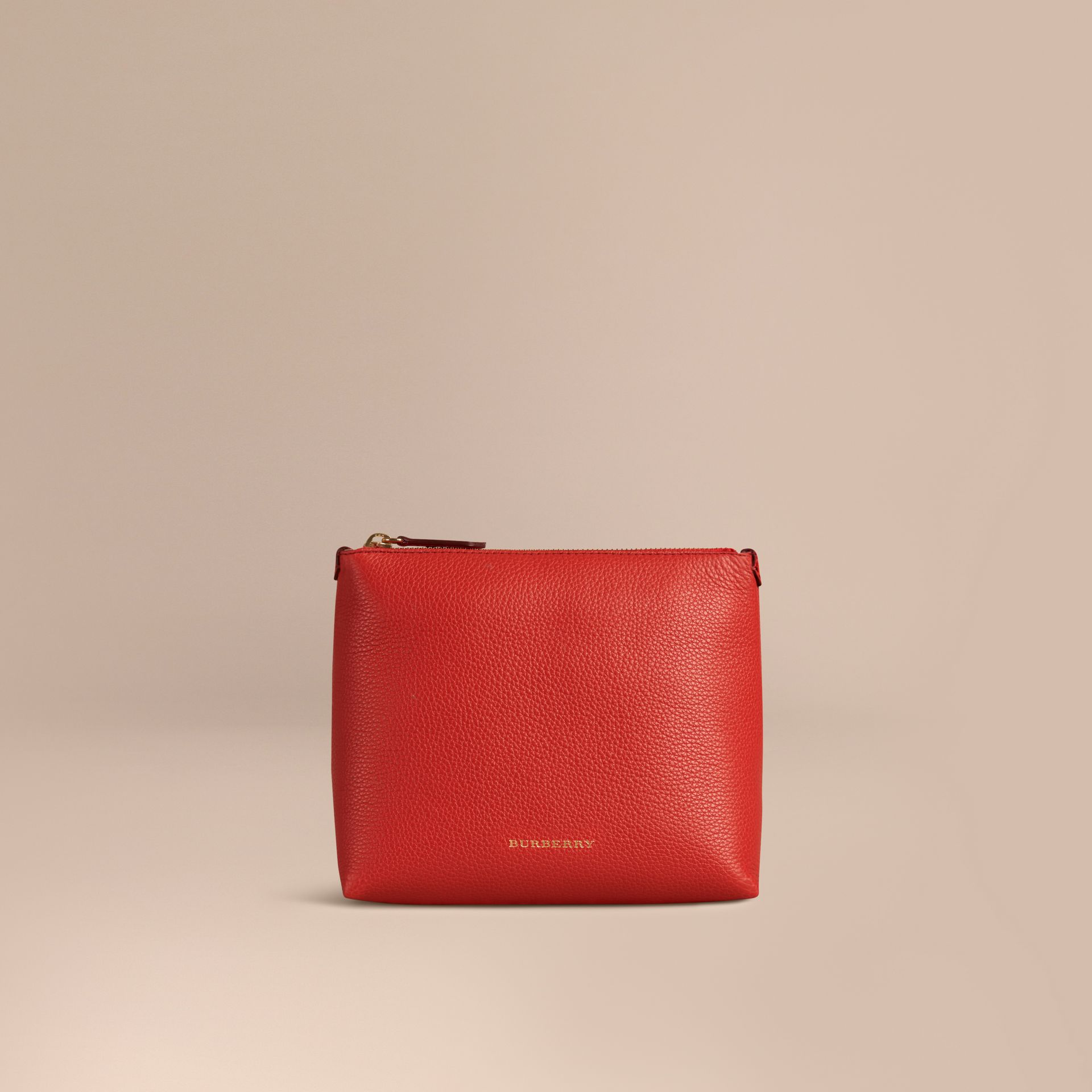 Orange red Grainy Leather Zipped Pouch Orange Red - gallery image 1