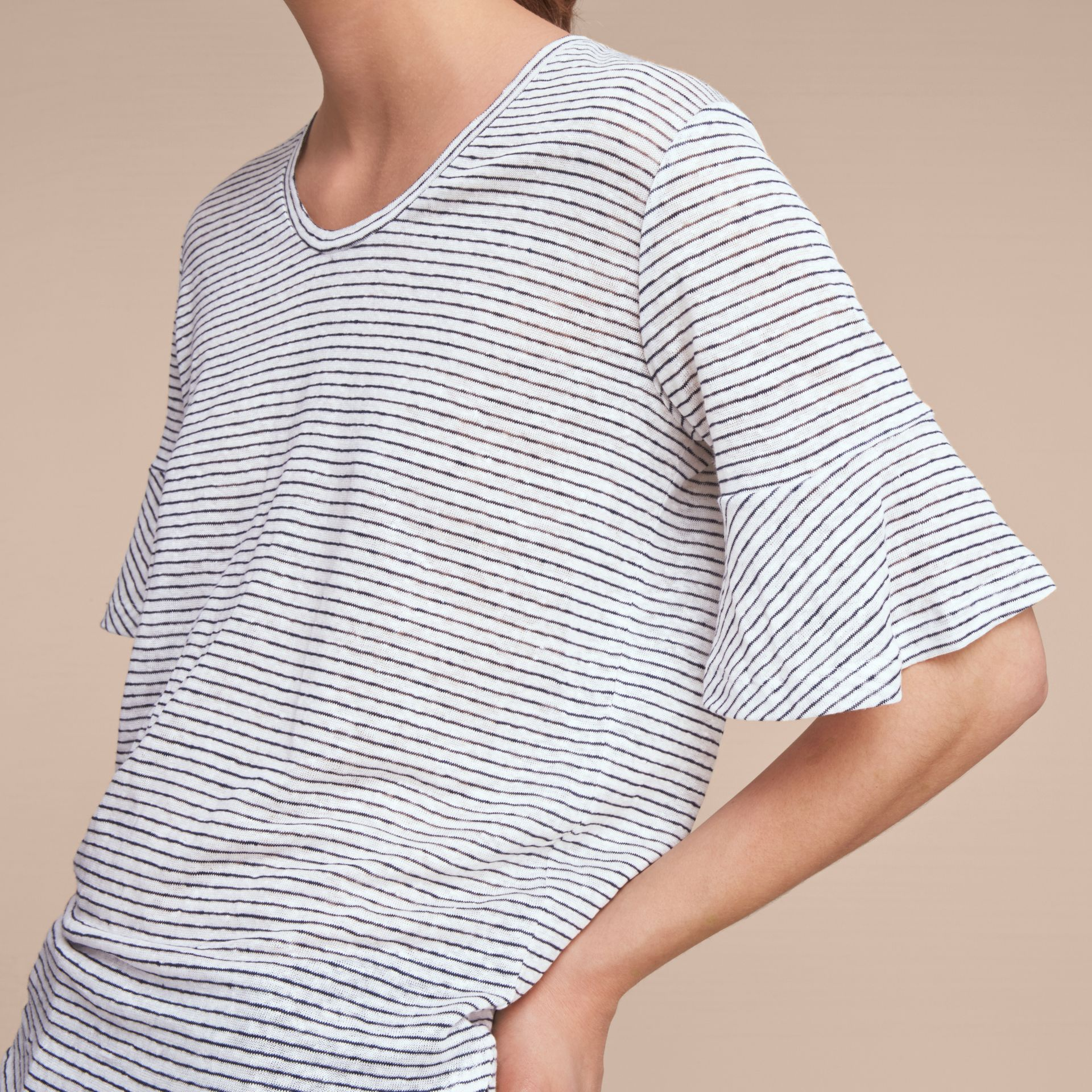 Bell-sleeve Check Detail Striped Linen T-shirt in Natural White/navy - gallery image 5