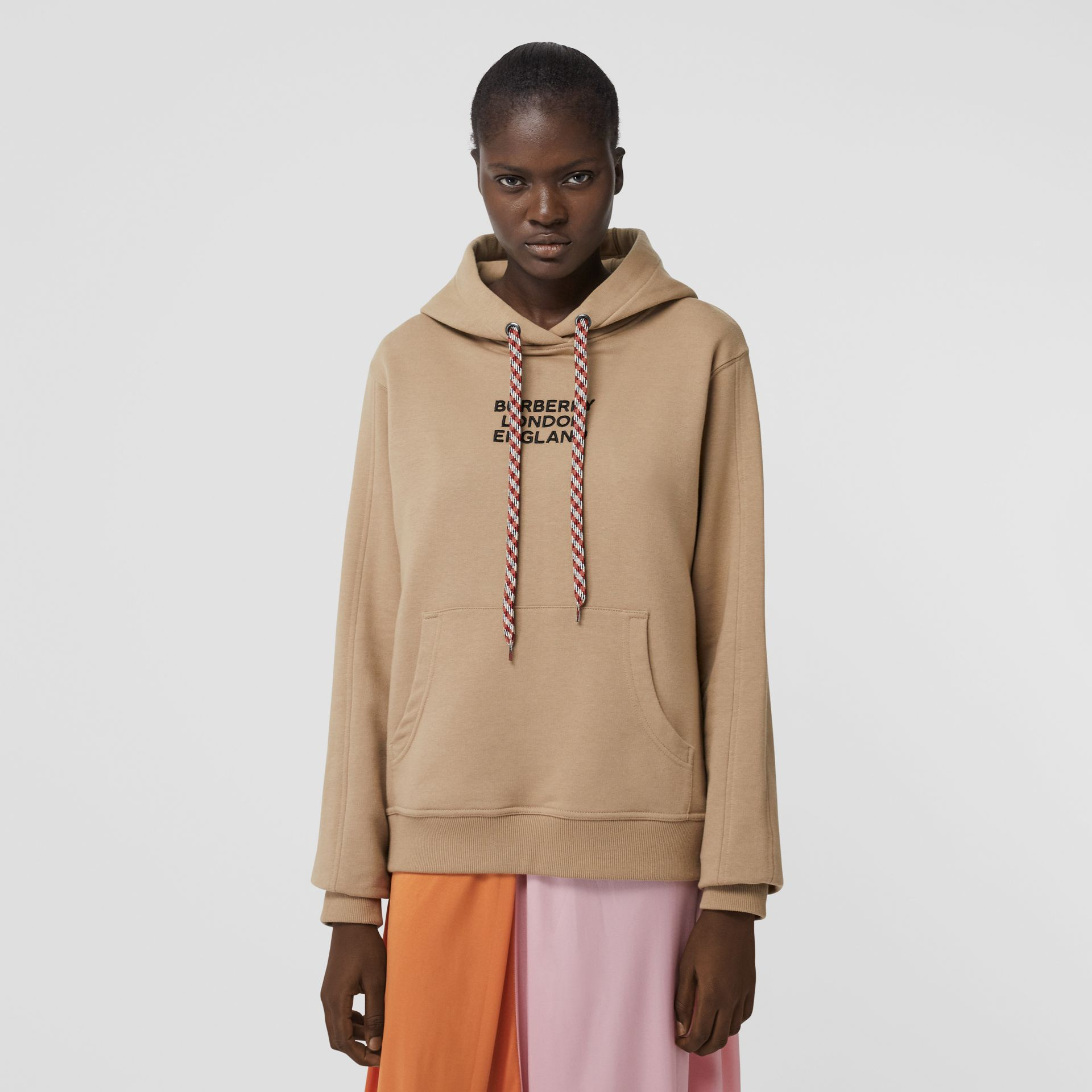 Embroidered Logo Cotton Oversized Hoodie in Archive Beige - Women | Burberry - gallery image 4