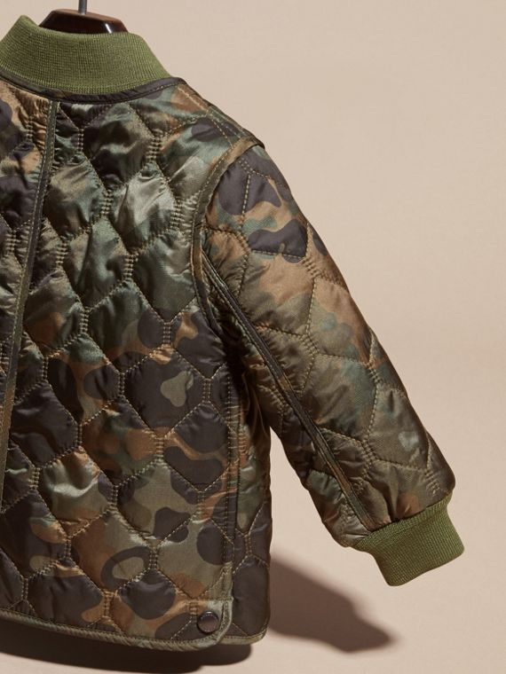 Dark cedar green Camouflage Quilted Nylon Bomber Jacket - cell image 3
