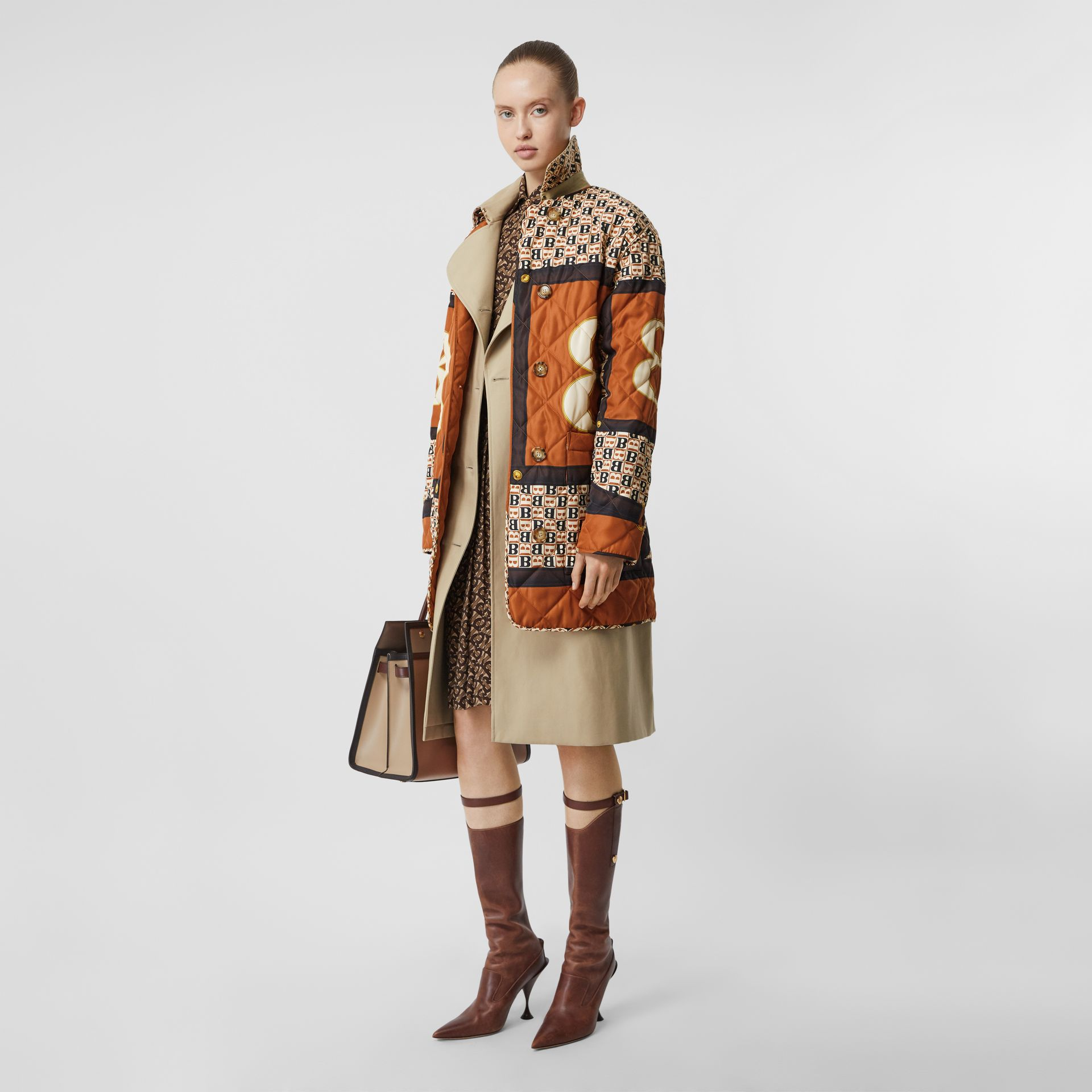 Archive Scarf Print Diamond Quilted Coat in Clay Sienna - Women | Burberry - gallery image 0