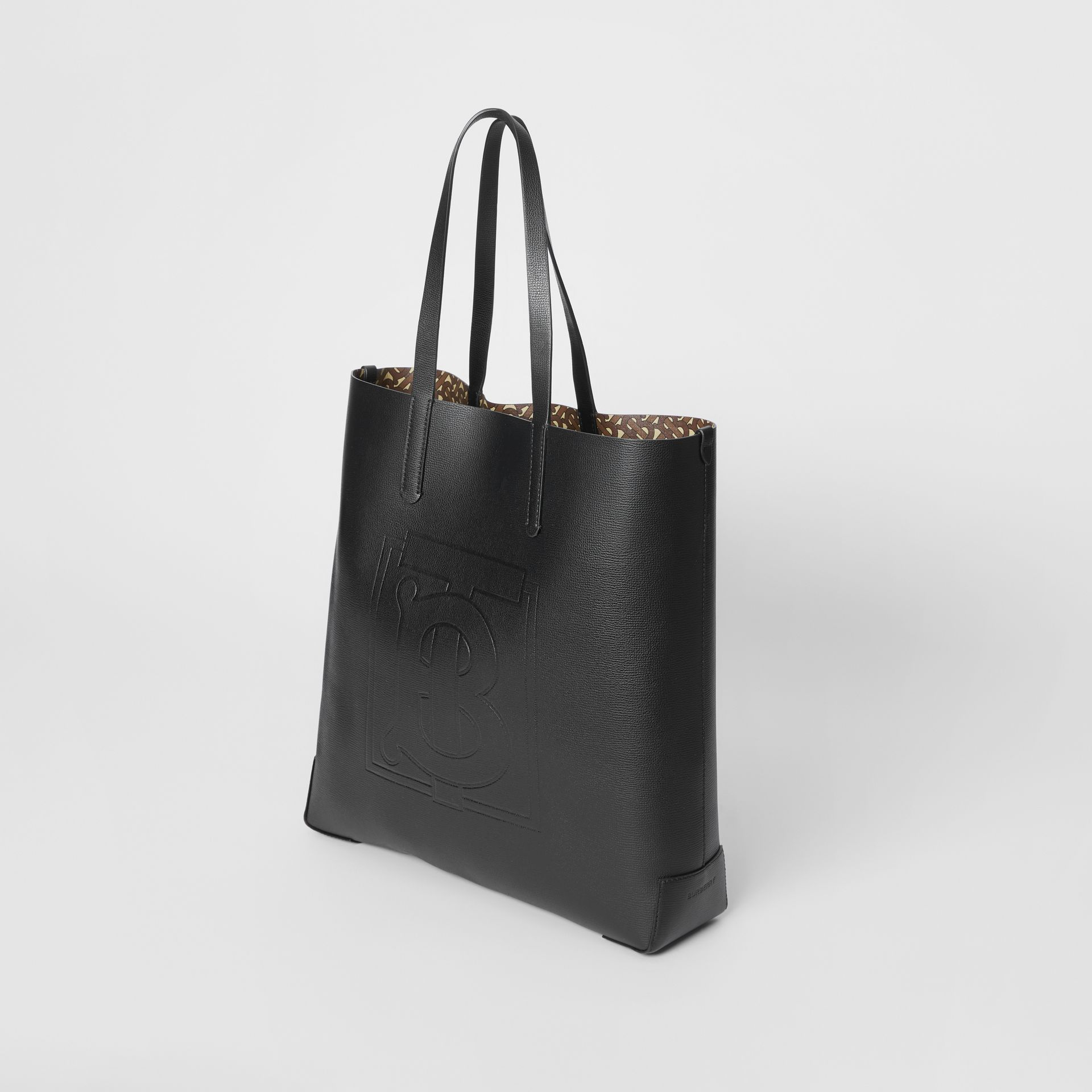 Large Embossed Monogram Motif Leather Tote in Black | Burberry - gallery image 3