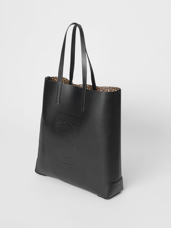 Large Embossed Monogram Motif Leather Tote in Black | Burberry - cell image 2