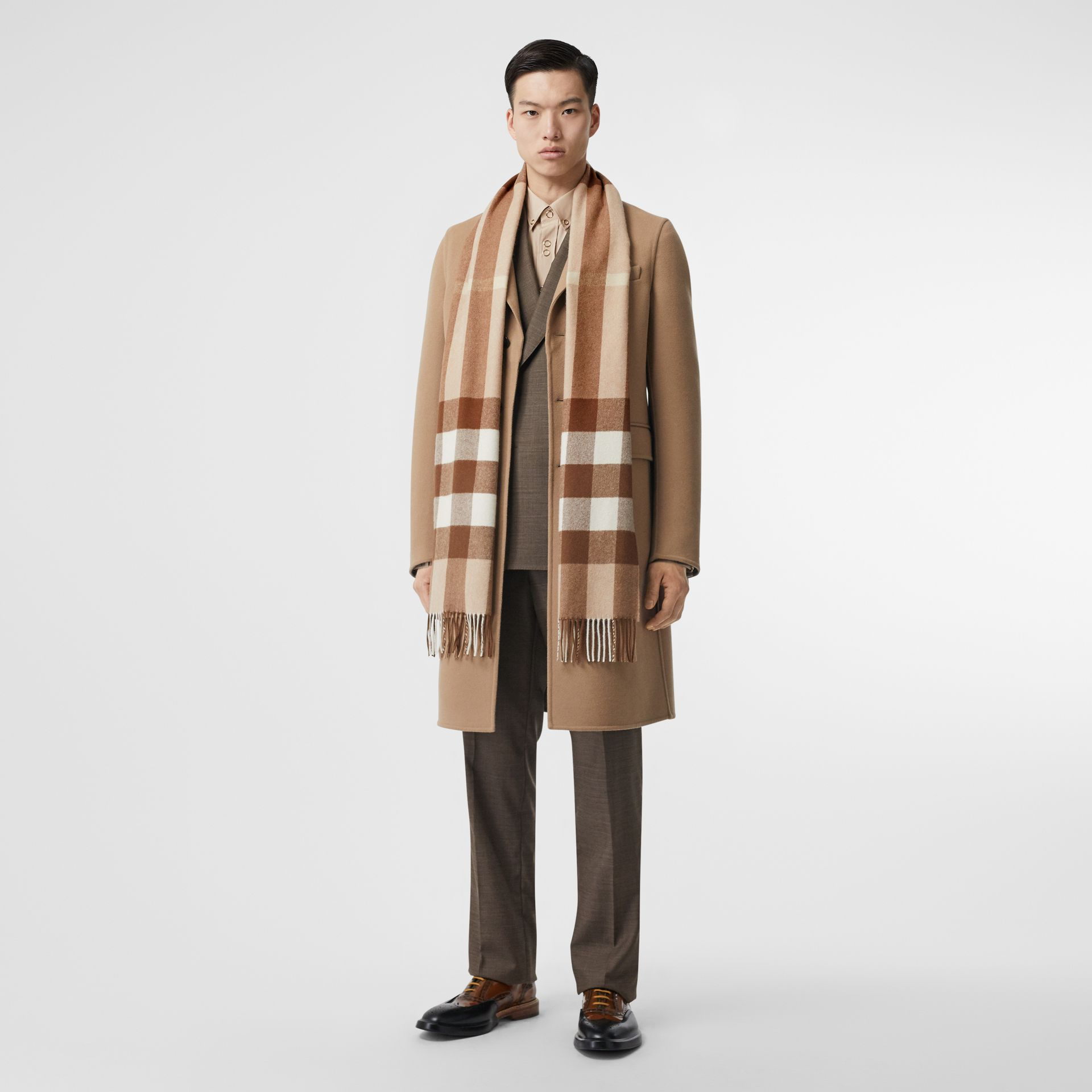 Check Cashmere Scarf in Mid Camel | Burberry United Kingdom - gallery image 6