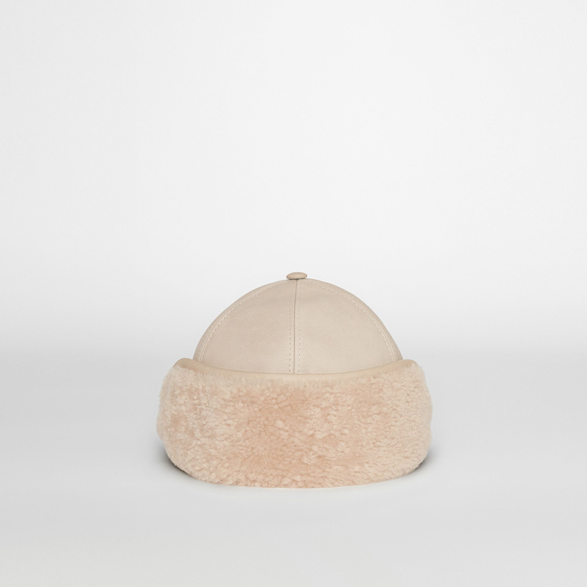 Leather and Shearling Cap in Limestone | Burberry - gallery image 3