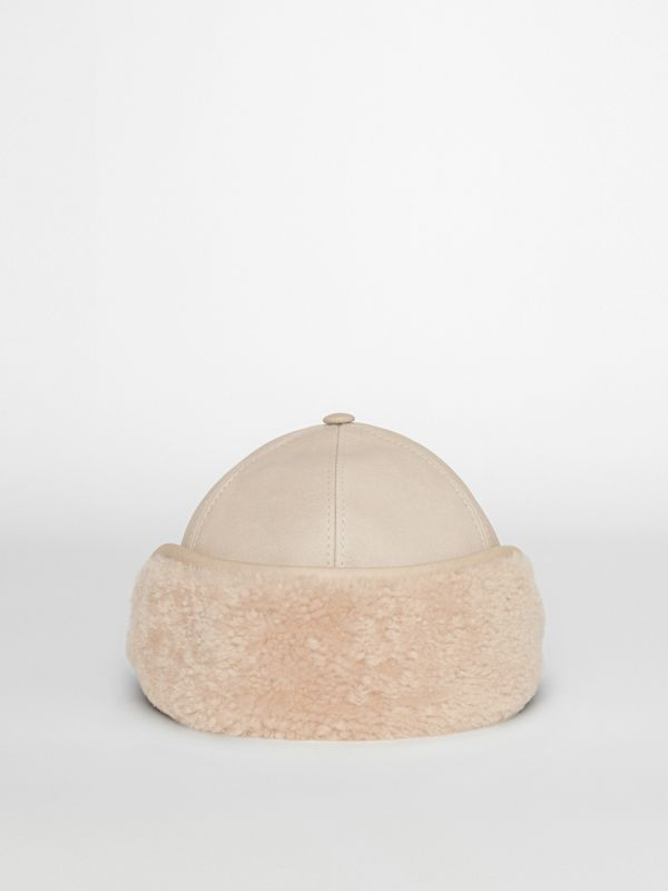 Leather and Shearling Cap in Limestone | Burberry United States - cell image 3