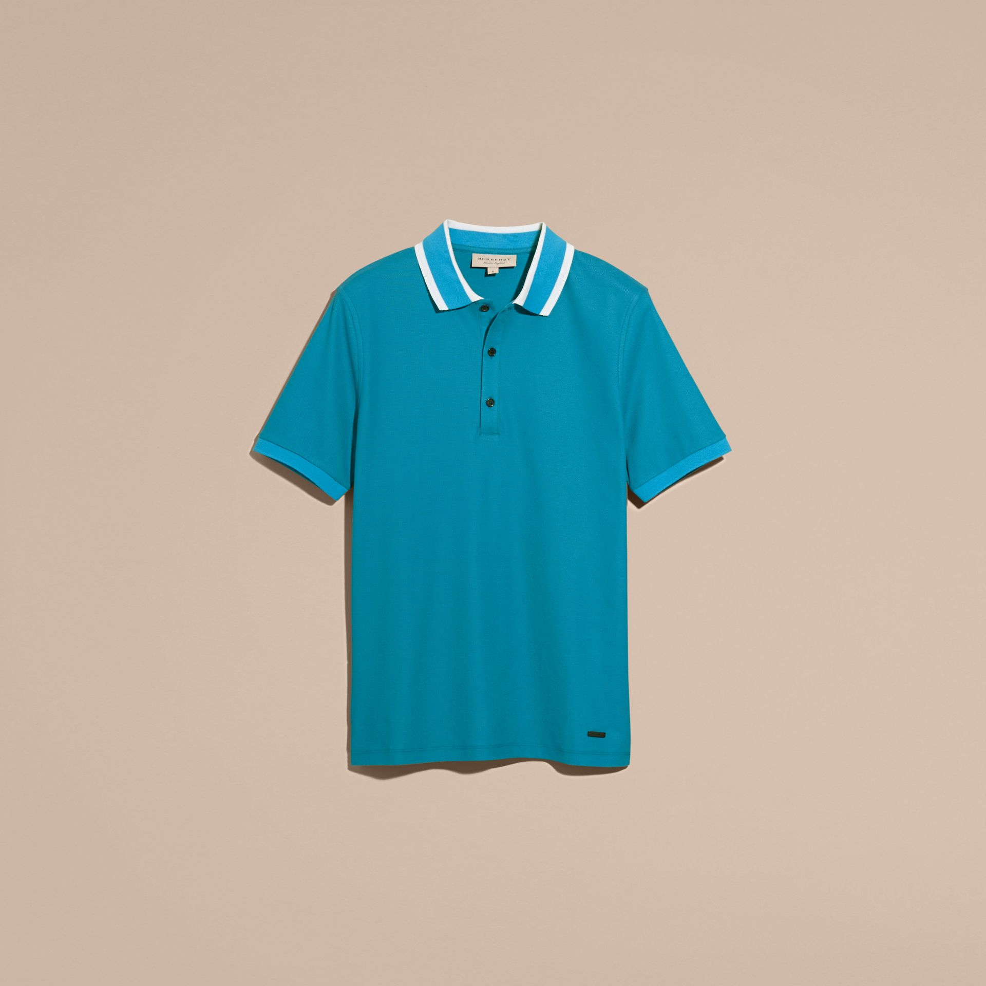 Striped Collar Cotton Piqué Polo Shirt Bright Turquoise - gallery image 4