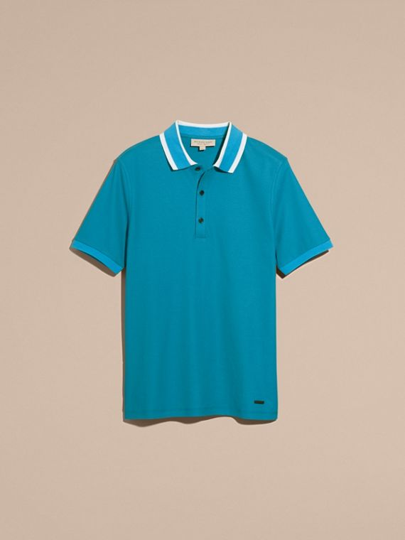 Striped Collar Cotton Piqué Polo Shirt Bright Turquoise - cell image 3