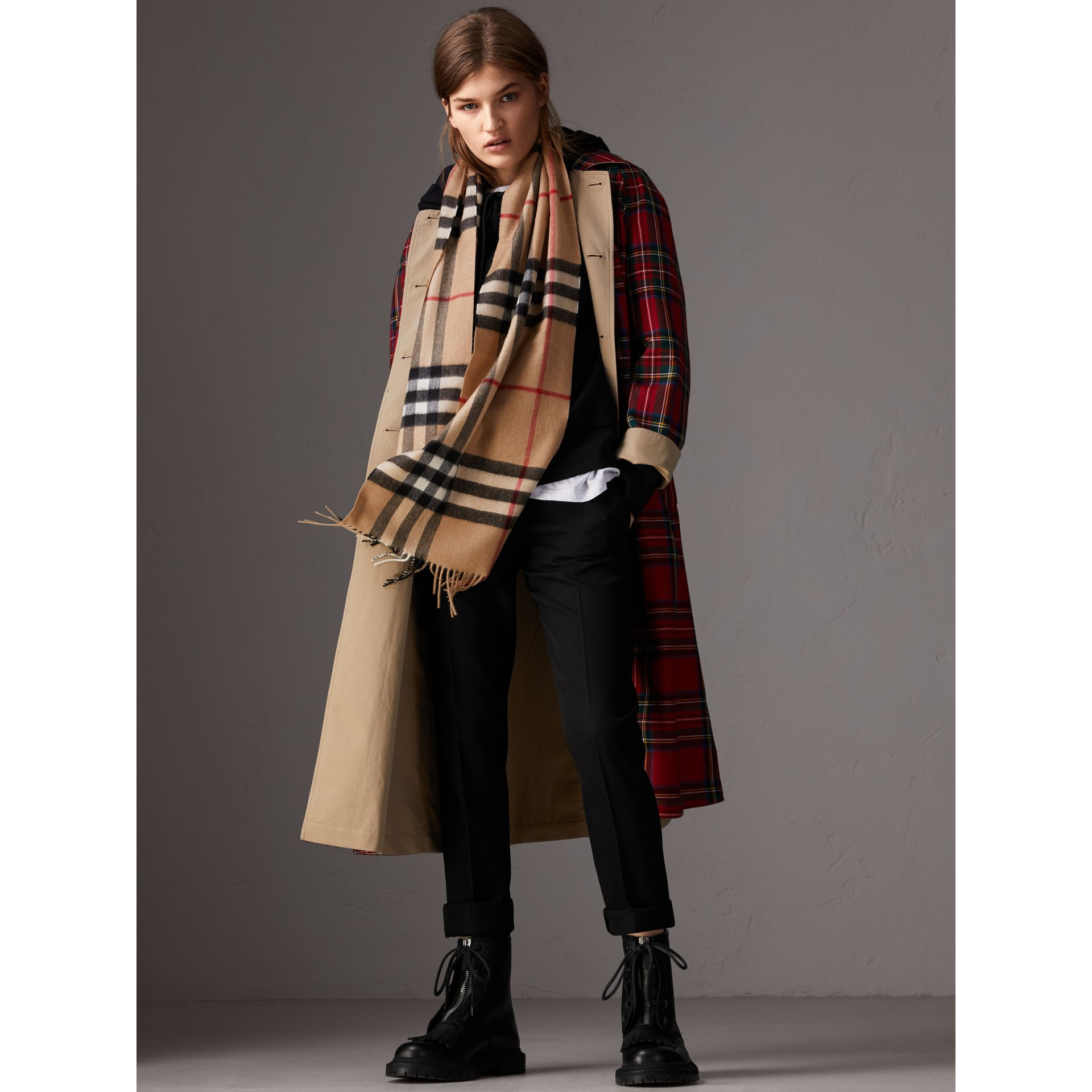 The Classic Check Cashmere Scarf in Camel | Burberry Australia - gallery image 2