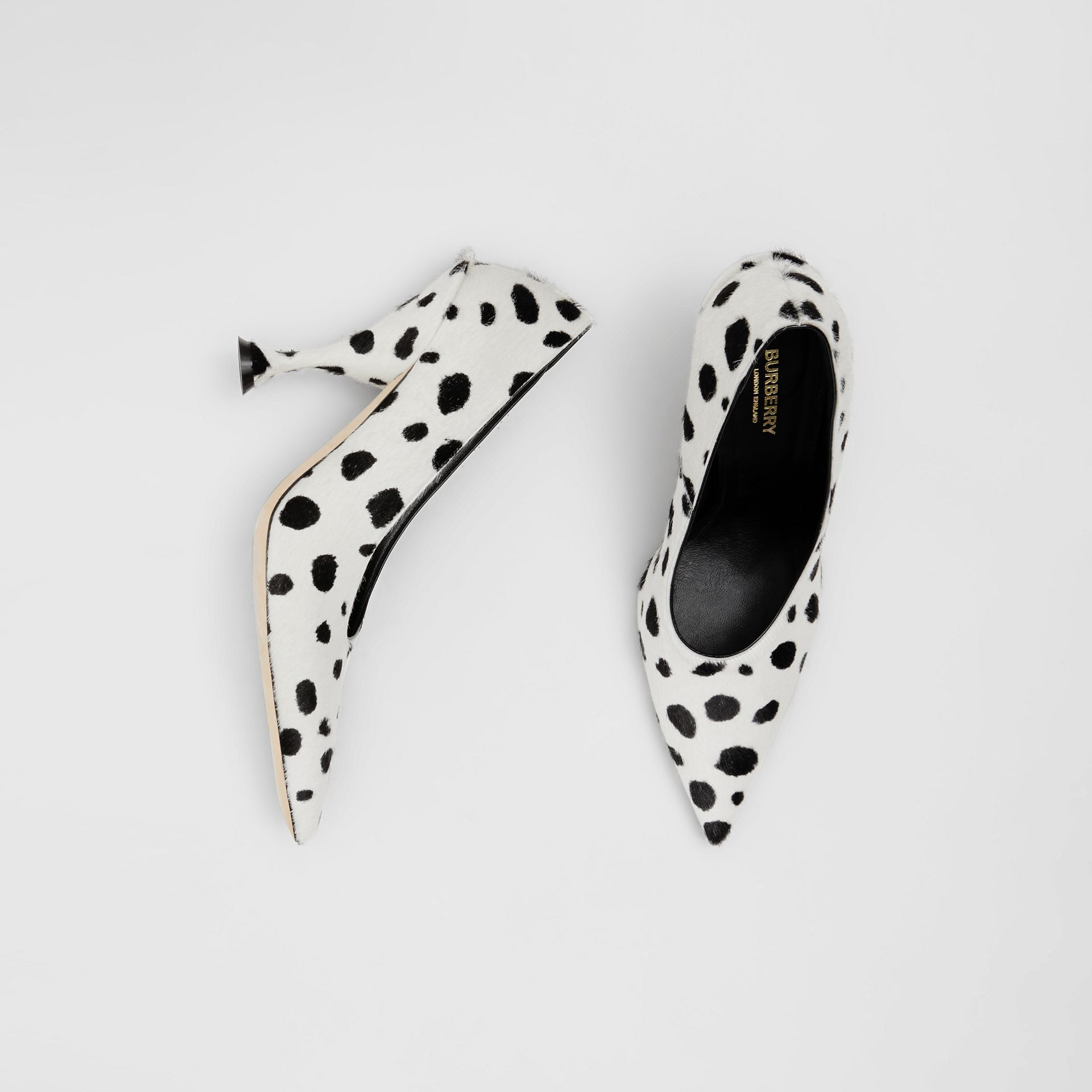 Dalmatian Print Calf Hair Pumps in Optic White/black - Women | Burberry United Kingdom - gallery image 0