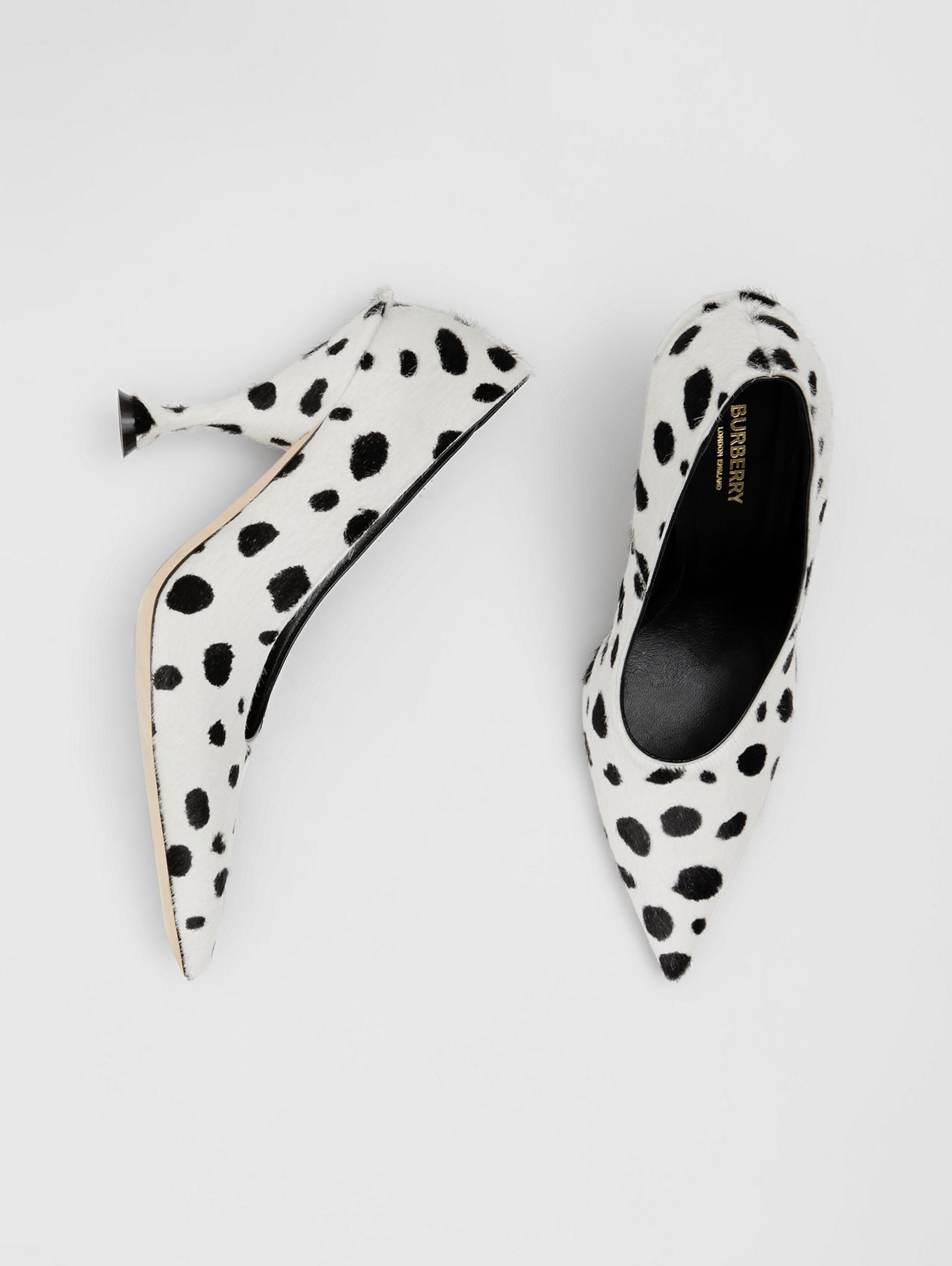 Dalmatian Print Calf Hair Pumps in Optic White/black