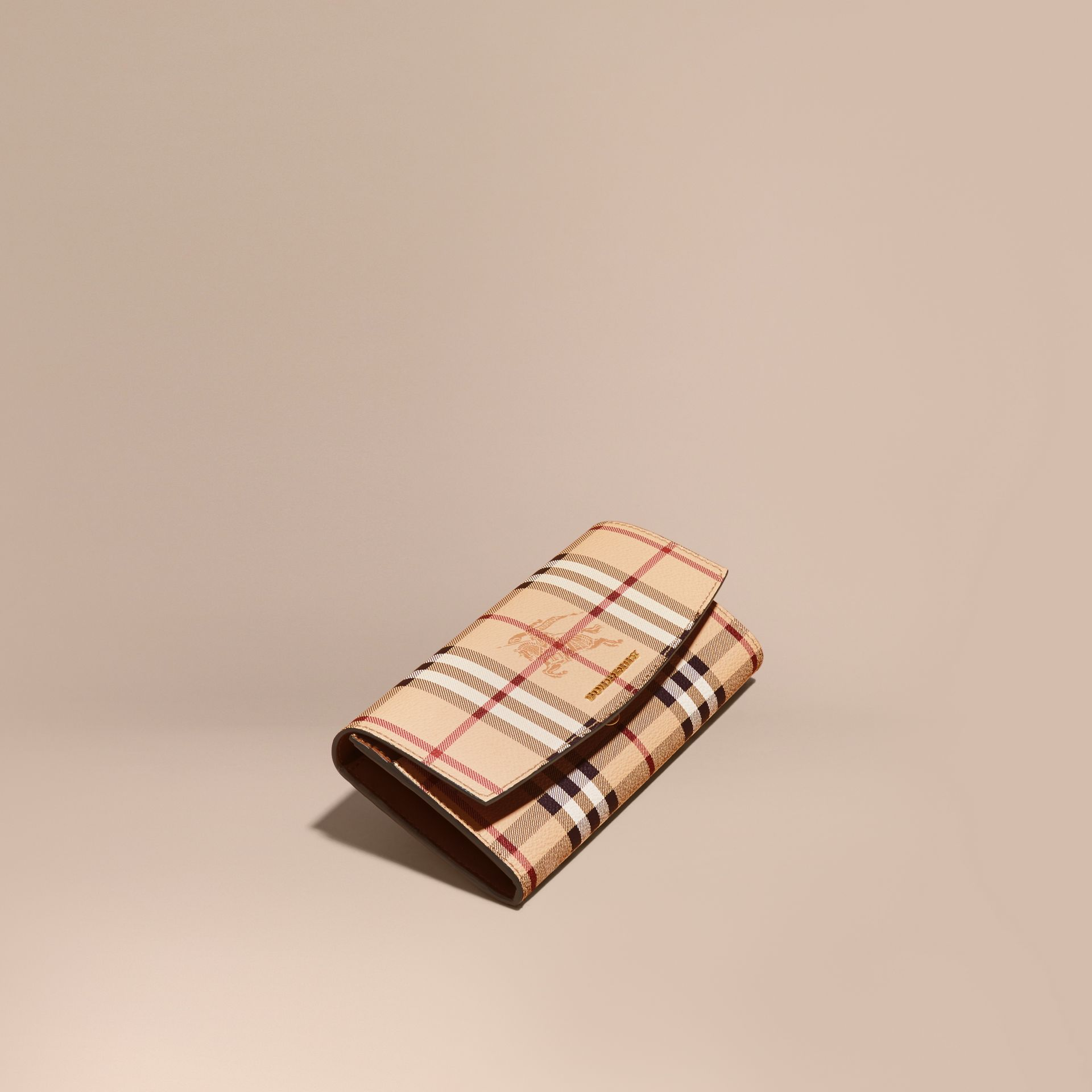 Haymarket Check and Leather Continental Wallet in Tan - Women | Burberry Canada - gallery image 1