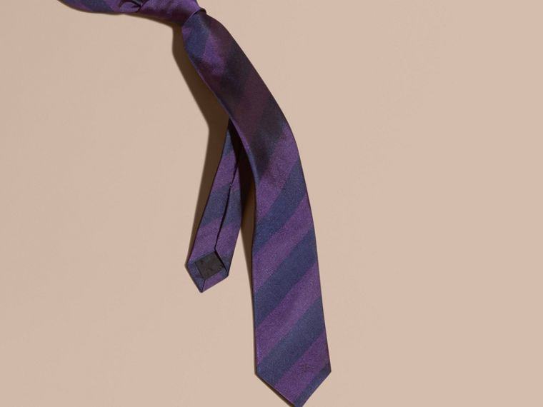 Slim Cut Stripe Jacquard Silk Tie in Purple Black - cell image 2