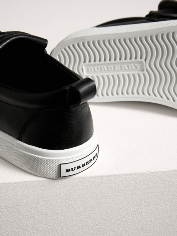 Fringed Buckle Detail Sneakers in Black | Burberry - cell image 1