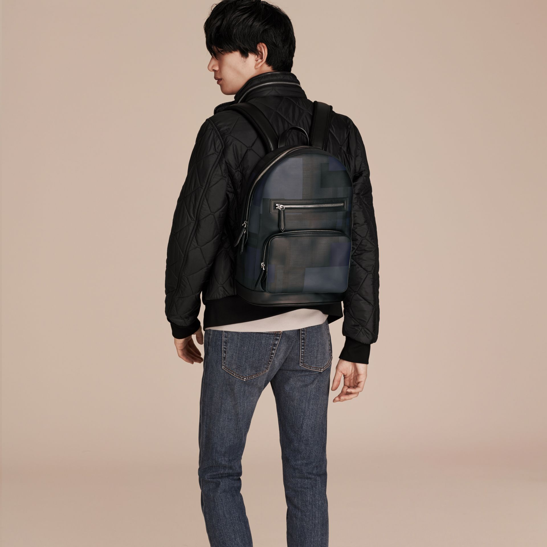 Navy/geometric Patchwork Print London Check Backpack - gallery image 3