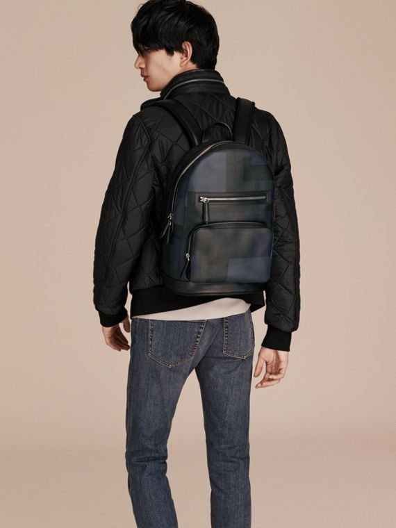 Navy/geometric Patchwork Print London Check Backpack - cell image 2