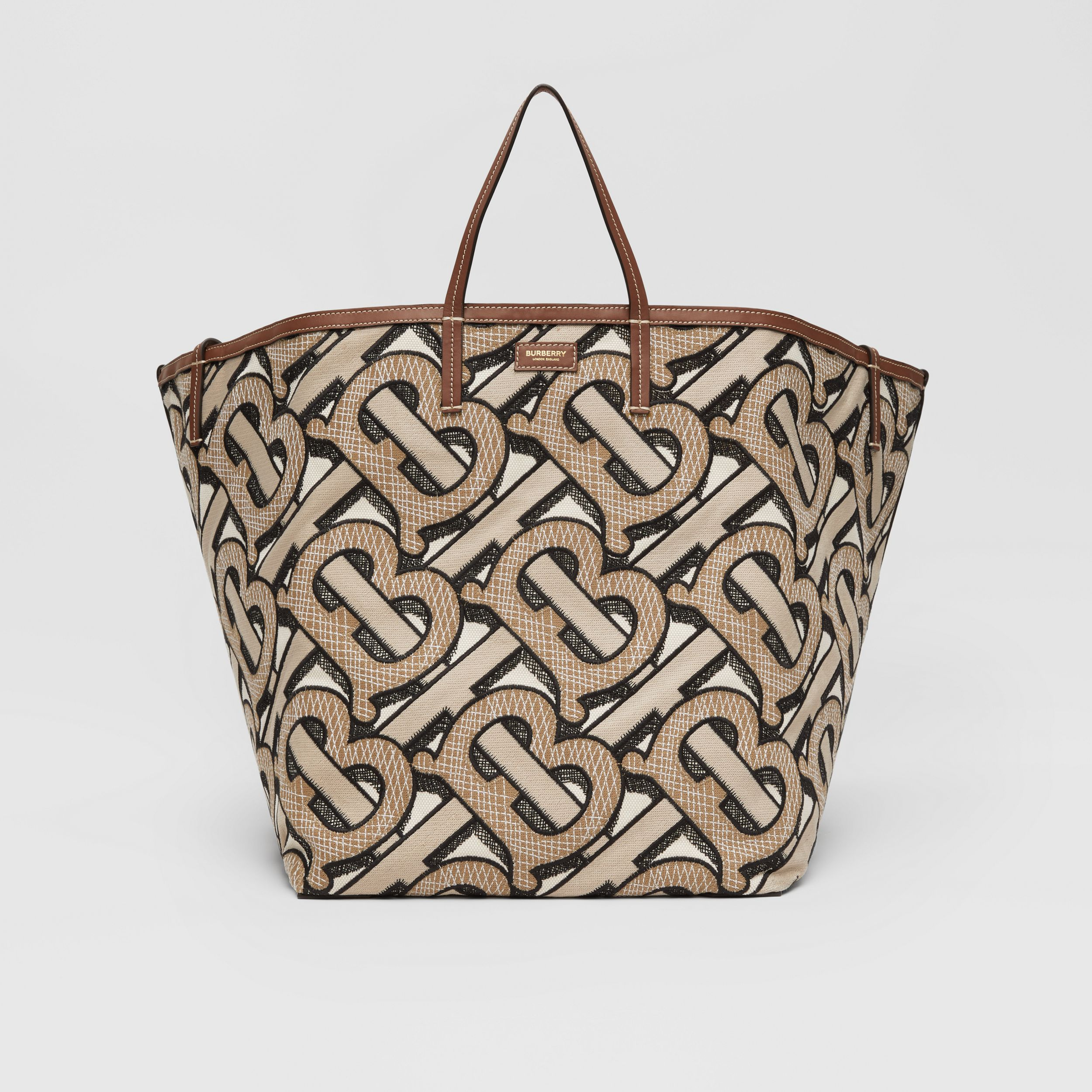 Extra Large Embroidered Monogram Cotton Beach Tote in Dark Beige | Burberry - 1