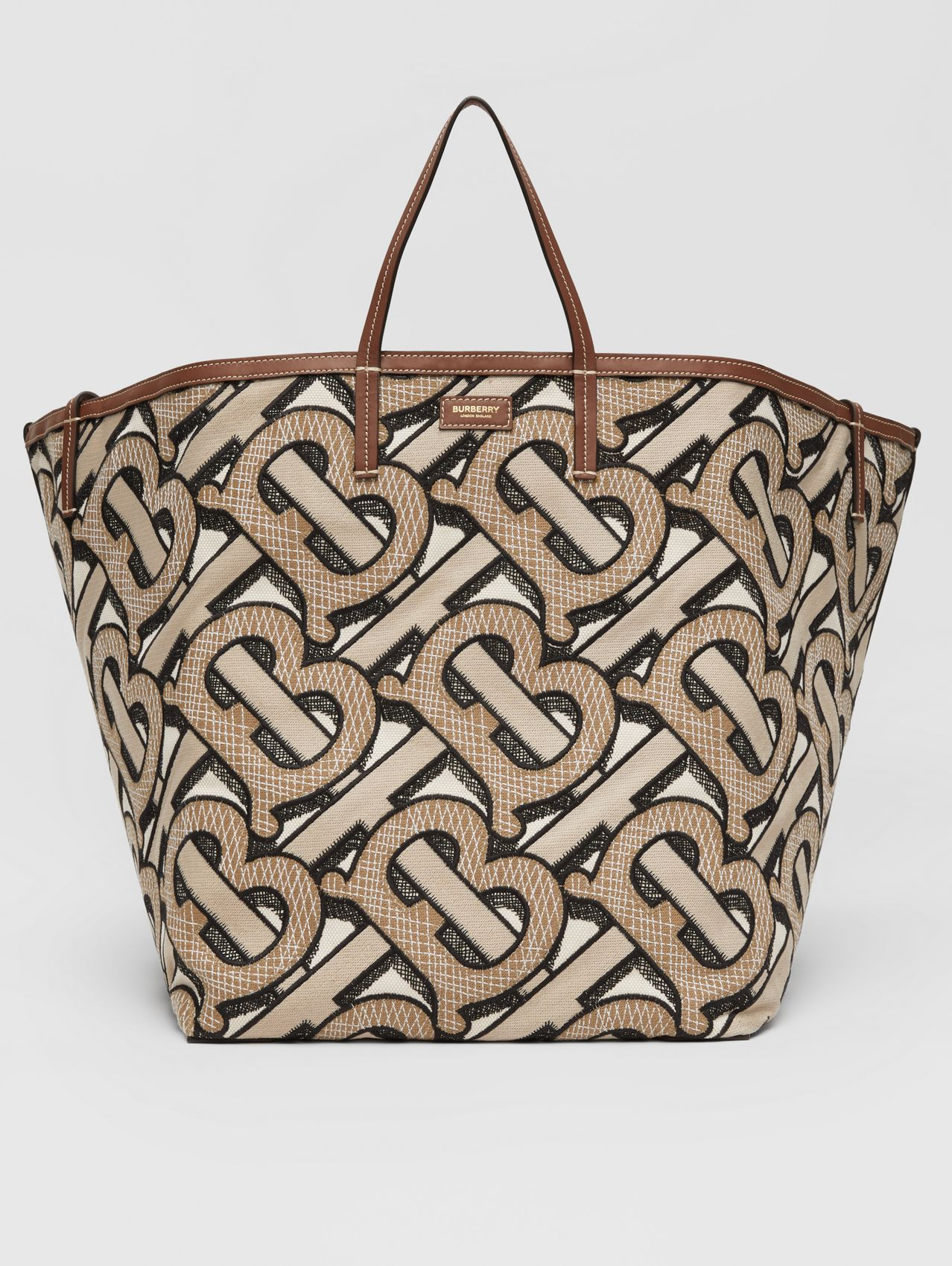 Extra Large Embroidered Monogram Cotton Beach Tote in Dark Beige