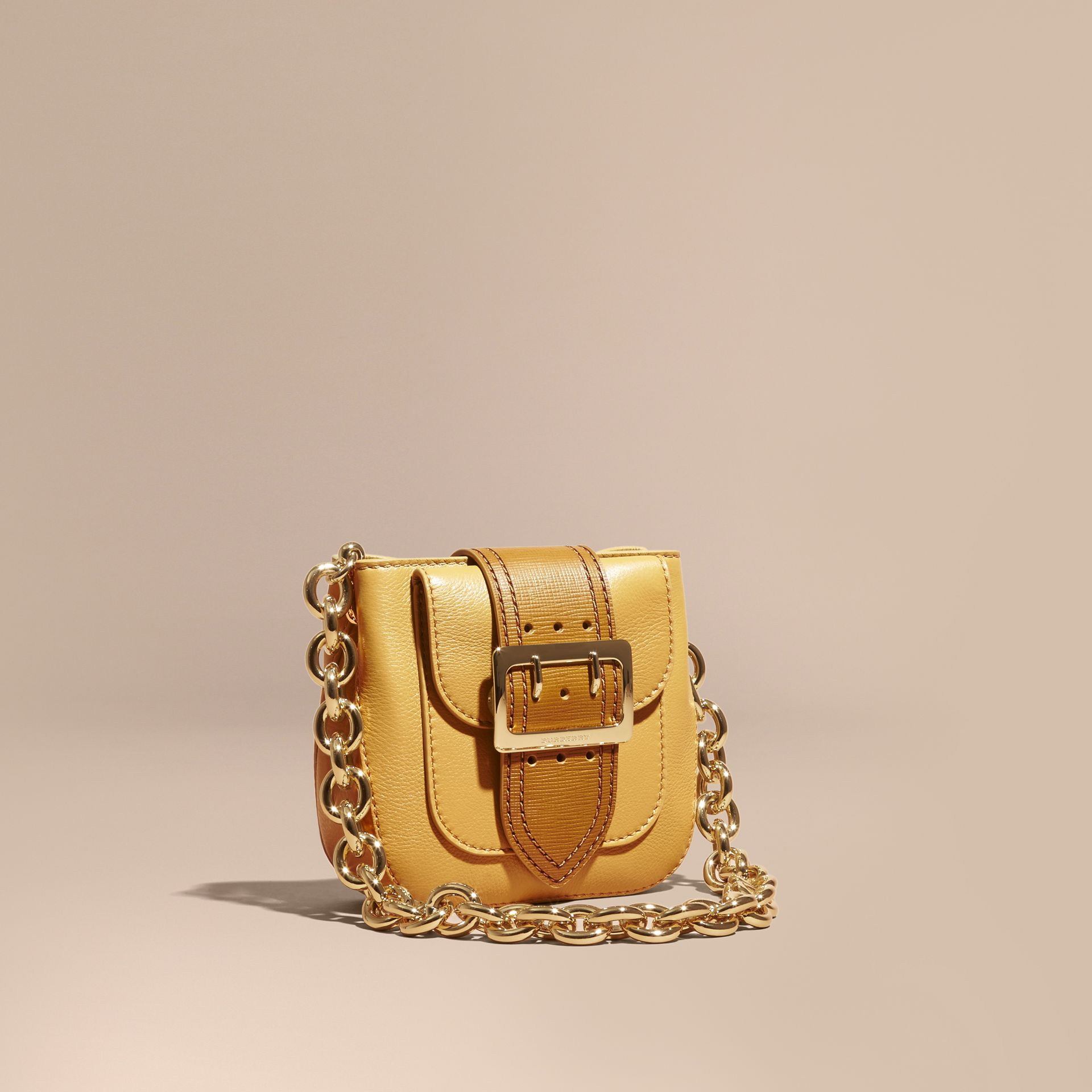 Ochre yellow The Small Square Buckle Bag in Leather - gallery image 1