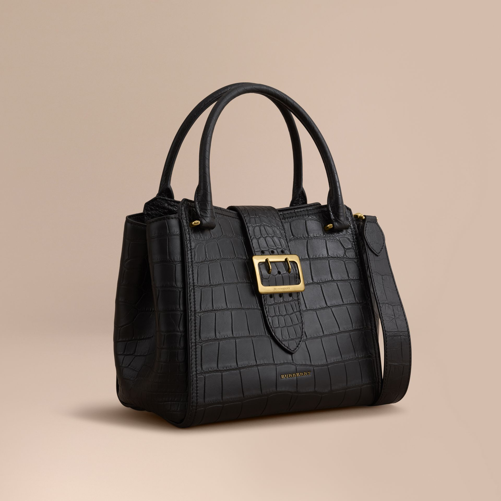 The Medium Buckle Tote in Alligator in Black - Women | Burberry United Kingdom - gallery image 5