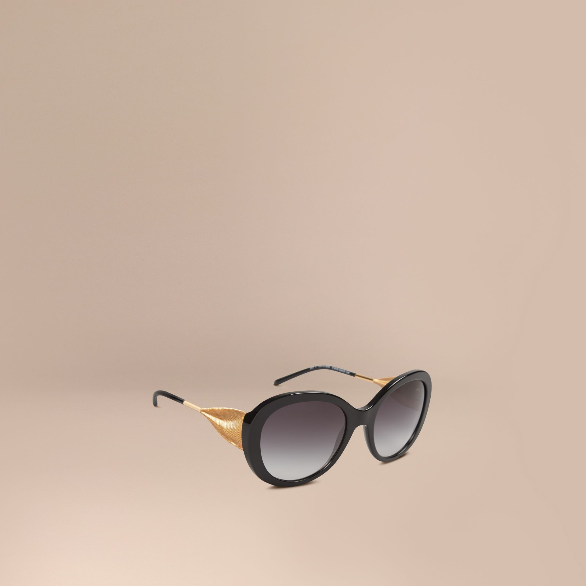 Gabardine Collection Oversize Round Frame Sunglasses in Black - Women | Burberry United States - gallery image 1