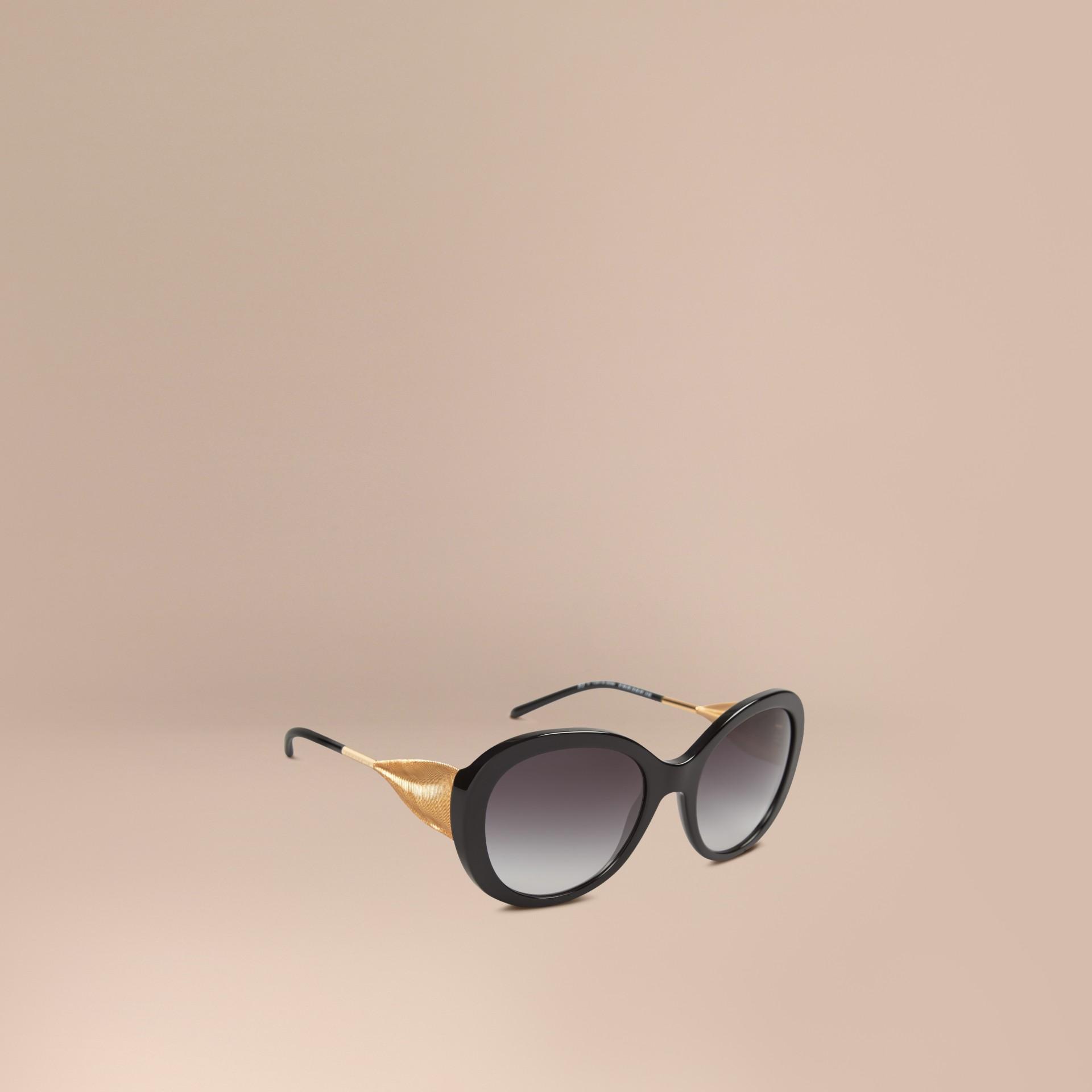 Burberry Black Frame Glasses : Gabardine Collection Oversize Round Frame Sunglasses in ...