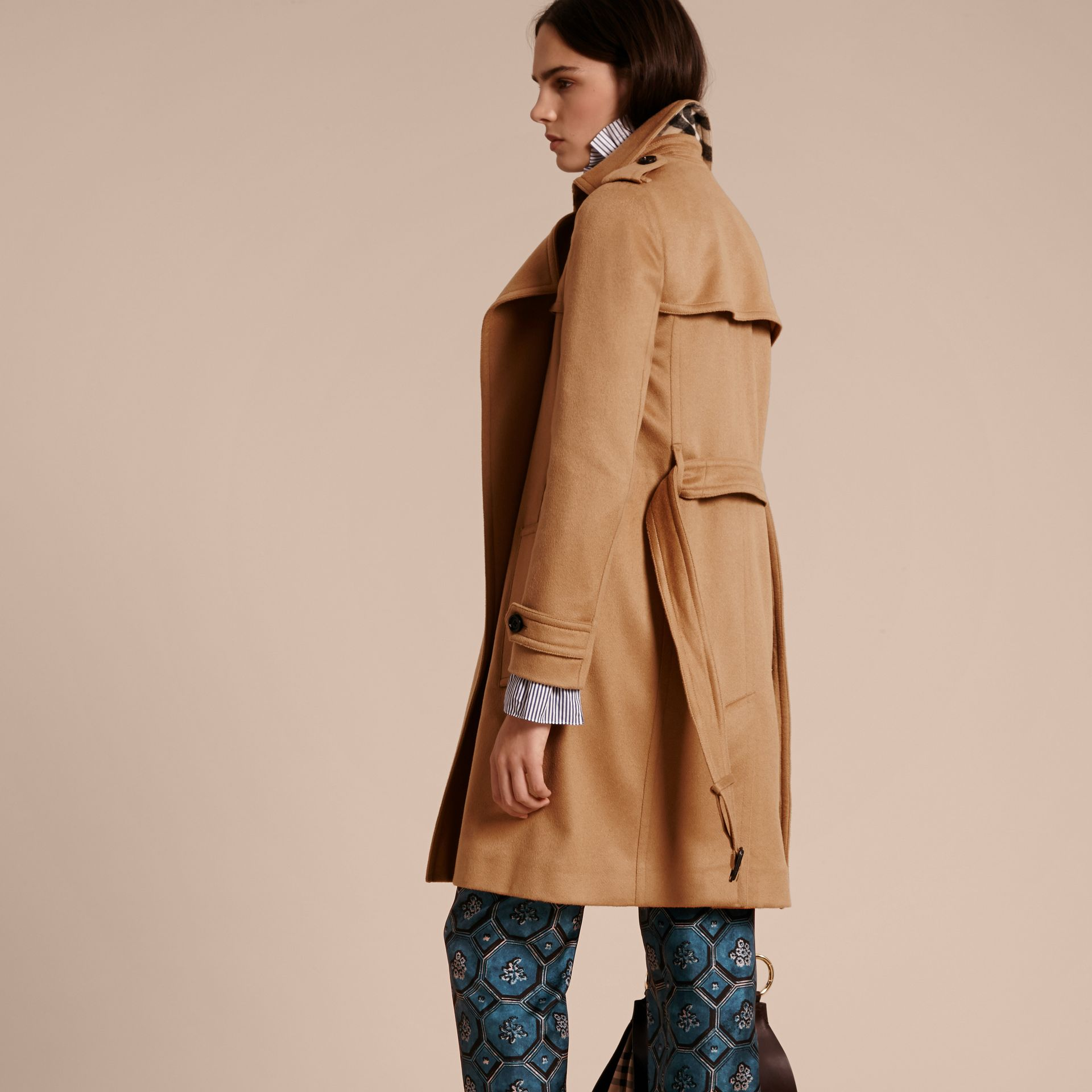 Cashmere Wrap Trench Coat Camel - gallery image 3
