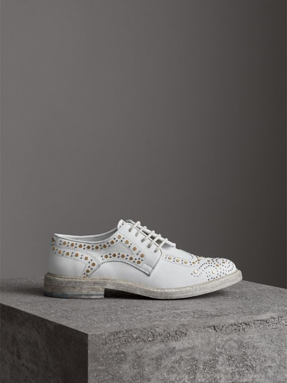 Asymmetric Closure Riveted Leather Brogues in Optic White - Women | Burberry - cell image 3